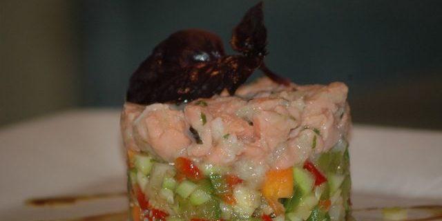 Duo de tartare aux saumons et courgettes